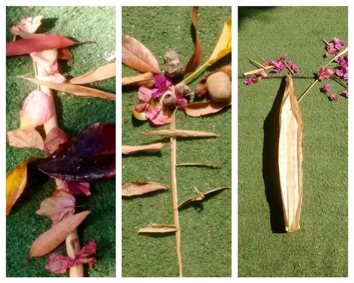Composiciones con hojas y flores recogidas del suelo.
