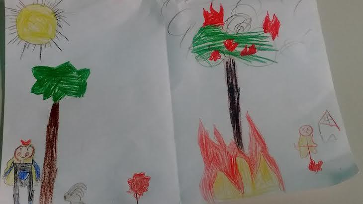 Bosque con vida frente a bosque quemado