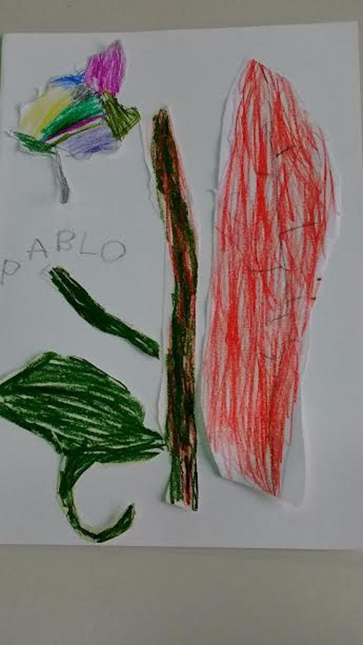 Composición de hojas calcadas y recortadas previamente