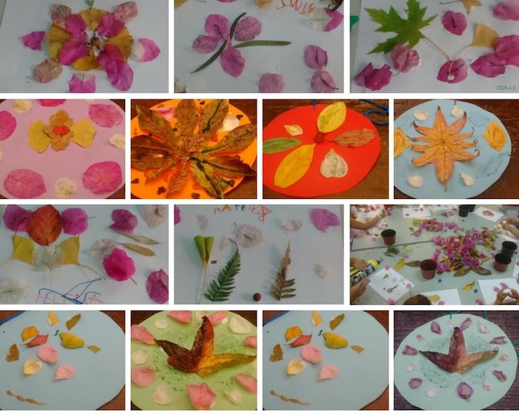 Creamos mandalas y composiciones con hojas y flores