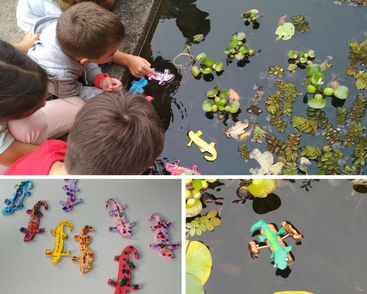 Probando cómo flotan nuestros tritones en uno de los estanques de Sales.