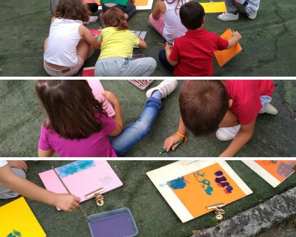 Dibujando del natural con acuarelas y lápices de colores.