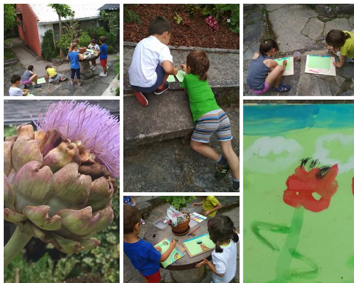 Pintando la alcachofa al natural.