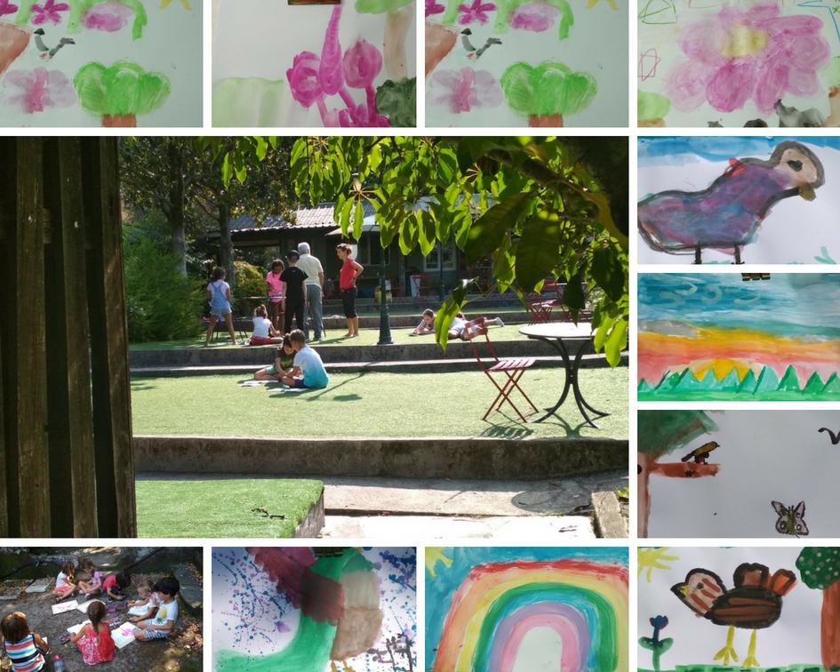 Dos momentos pintando al aire libre: buganvilla al natural y lo que nos sugieren los cantos de los pájaros.