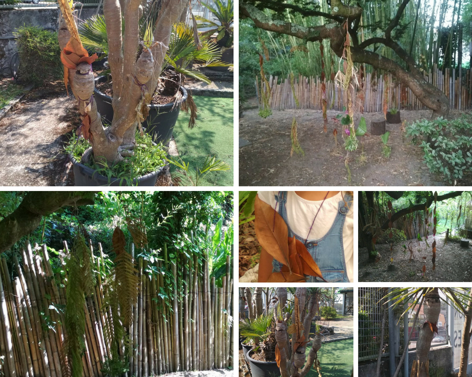 Decorando árboles con elementos naturales.
