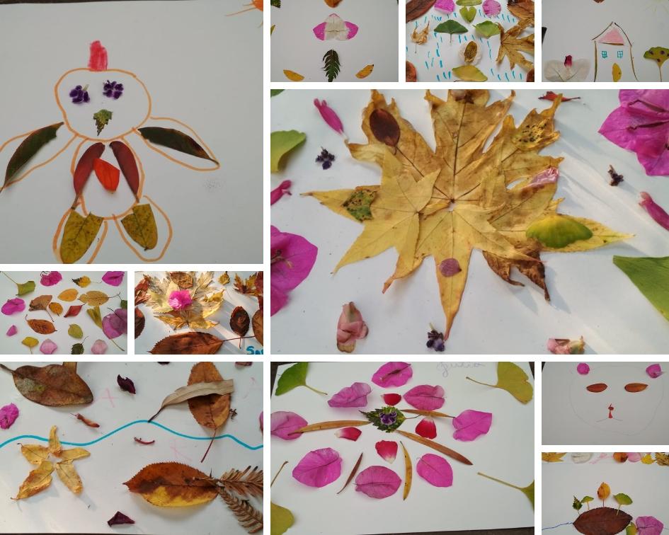 Collage con hojas y pétalos