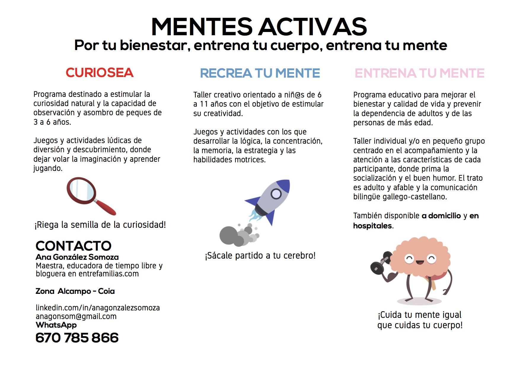 """Talleres """"Mentes Activas"""", para mantener tu cerebro en forma a cualquier edad."""